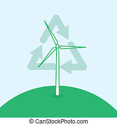 Wind Turbine Recycle Symbol - Wind turbine on the top of a...