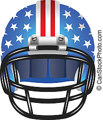 Footbal helmet with stripes and stars - American footbal...