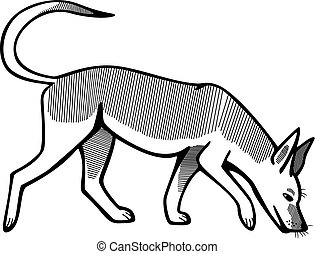 Dog Sniffing - vector line illustration of a young german...