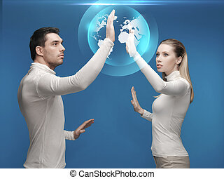 man and woman working with globe hologram - future,...