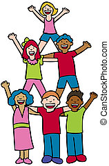 Pyramid Cheer Children - Group of diverse children standing...