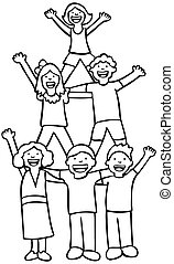 Children Cheer Line Art - Diverse group of children waving...
