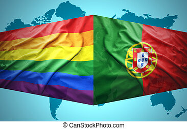 Waving Portuguese and Gay flags