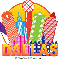 Dallas City Skyline Color Circle Illustration - Dallas Texas...