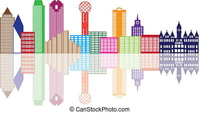 Dallas City Skyline Color Outline Illustration - Dallas...