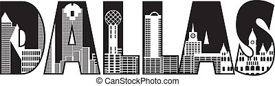 Dallas City Skyline Text Outline Black and White...