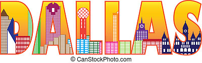 Dallas City Skyline Text Outline Color Illustration - Dallas...