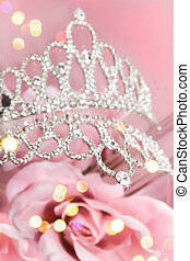 Glitter crown with pink roses - Beauty queen's glittery...