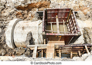 Sewer installation in city - Close up sewer installation...