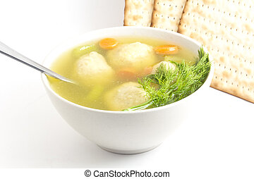 Matzoh Ball Soup - Delicious Matzoh ball soup with crackers...