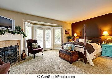 lujo, dormitorio, Chimenea, walkout, cubierta