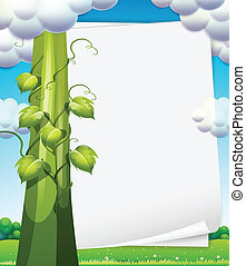 Banner with beanstalk - Ilustration of a banner with...