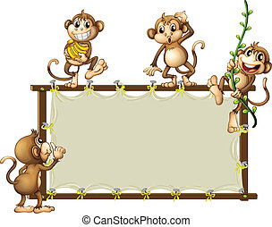 An empty banner with monkeys