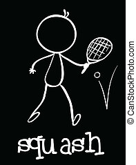 Squash - Illustration of a stickman playing squash