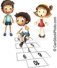 Children playing - Illustration of children hopping on...