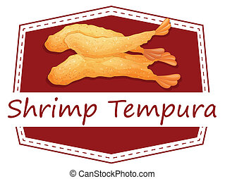 Shrimp tempura - Ilustration of a banner of shrimp tempura