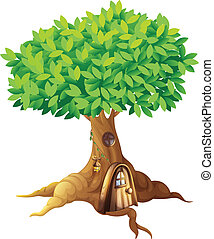 Tree house - Illustration of a house in a tree