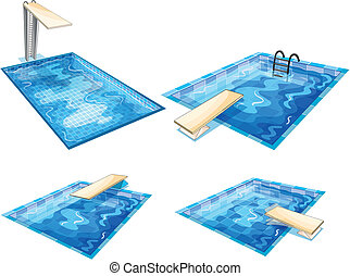 Set of pools - Illustration of the set of pools on a white...