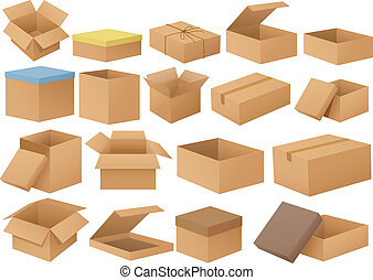 Cardboard boxes - Ilustration of a set of different...