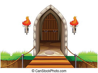 A closed door at the castle - Illustration of a closed door...