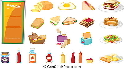 Food - Illustration of a set of food