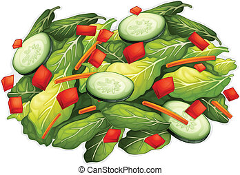 Salad - Illustration of a closeup salad