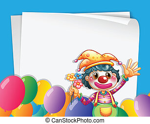 Clown banner - Illustration of a banner with a clown and...