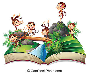 Pop-up book with monkeys - Illustration of a book of monkeys...