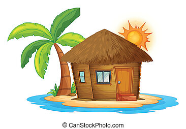 A small nipa hut in the island - Illustration of a small...