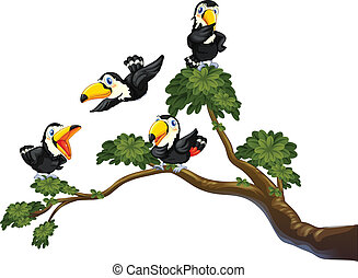 Toucan and tree - Illustration of four toucans on the tree