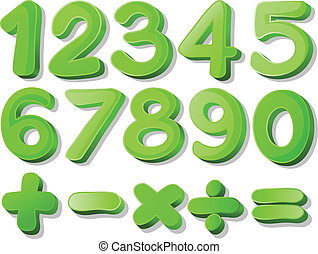 Green numbers - Illustration of a set of green numbers