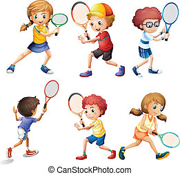 Tennis actions - Illustration of children with different...