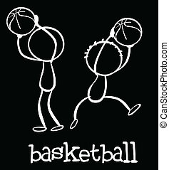 Basketball - Illustration of stickmen playing basketball