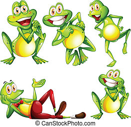 Frogs - Illustration of different actions of a frog