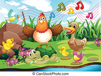 Animals singing at the riverbank - Illustration of the...