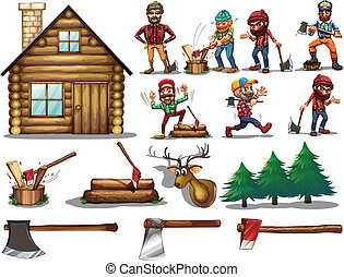 set of lumber - Ilustration of a set of lumberjack with...