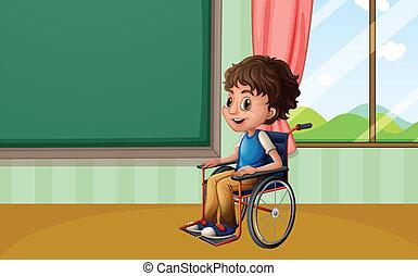Boy on wheelchair - Illustration of a boy on a wheelchair