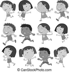 Boys and girls movements - Illustration of boys and girls...