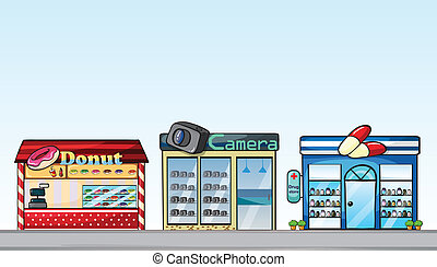 Shops - Illustration of different shops