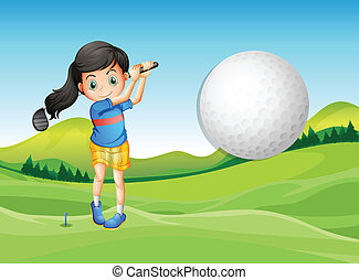 A young lady playing golf