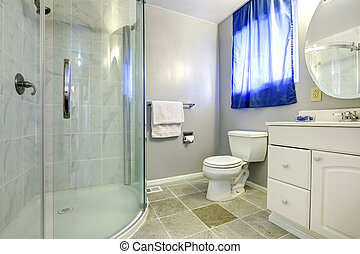 Bathroom interior with glass door shower