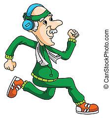vieux, homme, jogging