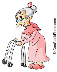 image Granny with zimmer frame has 3sum