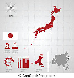 Republic of JAPAN flag Asia World Map Travel vector...