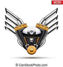 Motorcycle engine with metal wings. Vector Illustration. -...