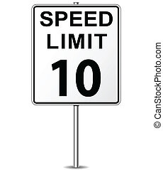 Vector speed limit sign - Vector illustration of ten speed...