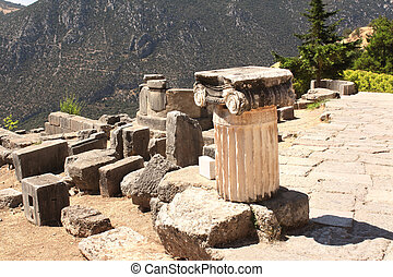 Ancient column in Delphi, Greece - Ancient column in the...