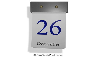 calendar - animation tear paper calendar in metal holder