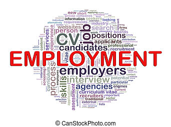 Word tags circular wordcloud of employment