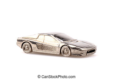 model of sport car in silver metal isolated on the white...